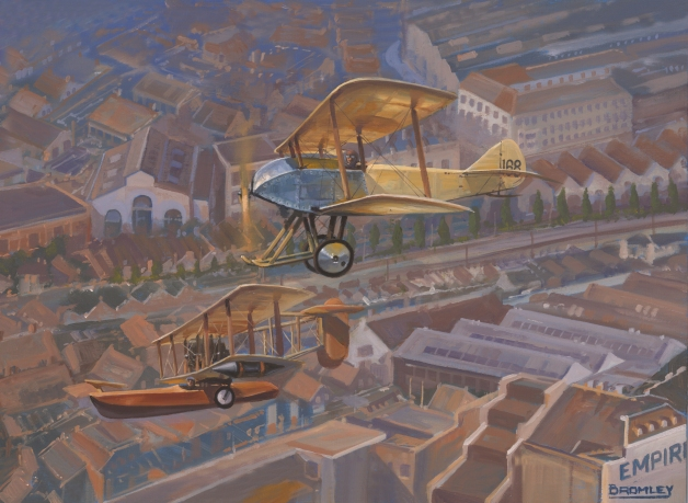 Sopwith Bat Boat and Sopwith Tabloid over Kingston ñ home of the Sopwith Aircraft Company in 1913.  (Painting by Mark Bromley)