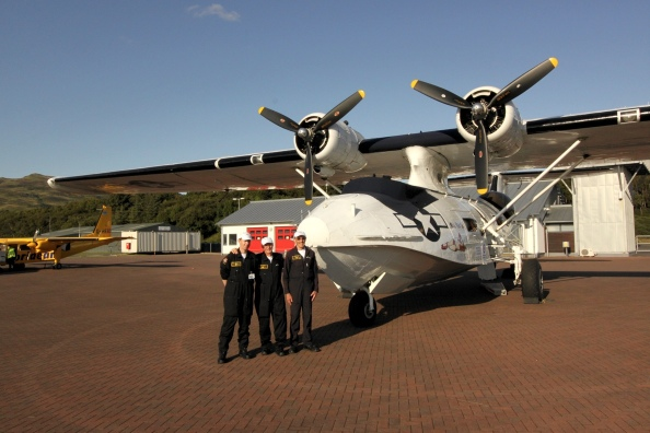 The Catalina and crew at Oban Airport